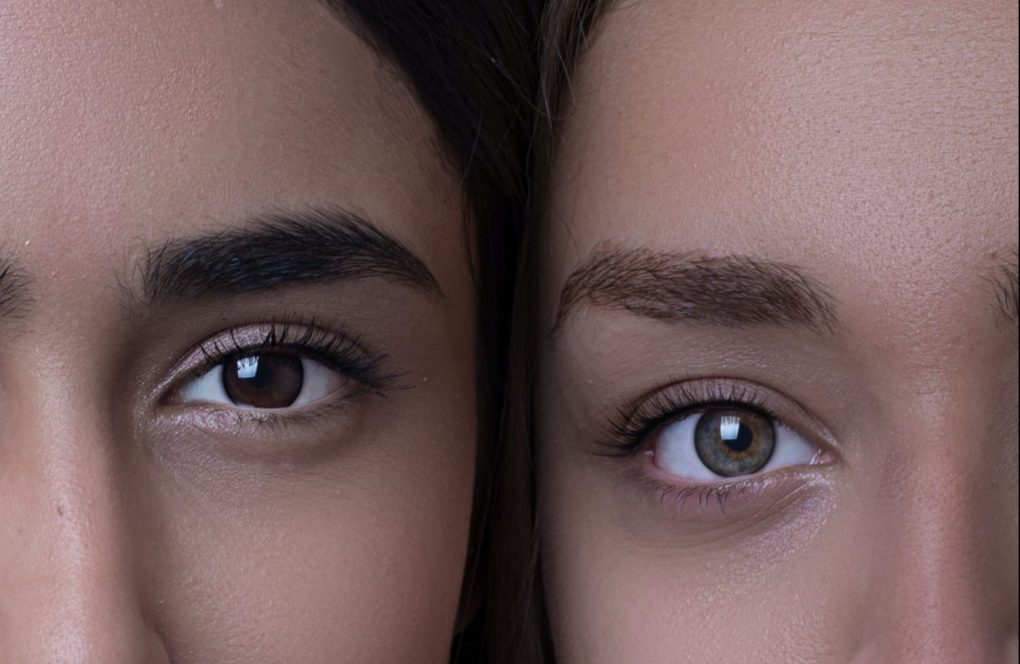 the brows and lashes of two women
